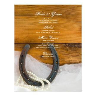 Menú de la herradura y del boda del país de las folleto 21,6 x 28 cm