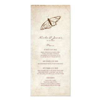 Menú de la mariposa del vintage invitación 10,1 x 23,5 cm