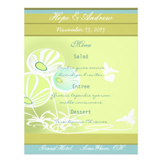 Menú de las flores y de las abejas folleto 21,6 x 28 cm