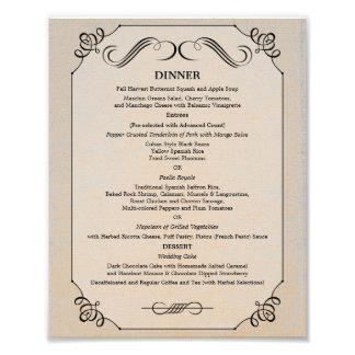 menú de lino de la cena de la tabla de 8 x 10 vint impresion fotografica