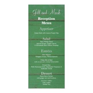 Menú de madera de la recepción del granero verde invitación 10,1 x 23,5 cm