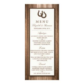 Menú de madera rústico del boda de la herradura y lonas personalizadas