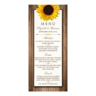 Menú de madera rústico del boda del girasol y de lonas