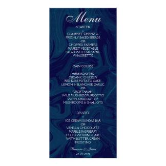 Menú de mármol azul marino del boda de la acuarela diseño de tarjeta publicitaria