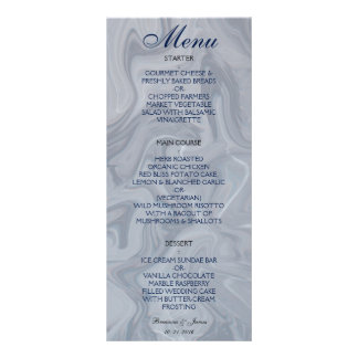 Menú de mármol gris del boda de la acuarela tarjeta publicitaria