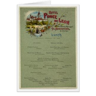 Menú del almuerzo, hotel de Ponce de León, St Augu Tarjetón