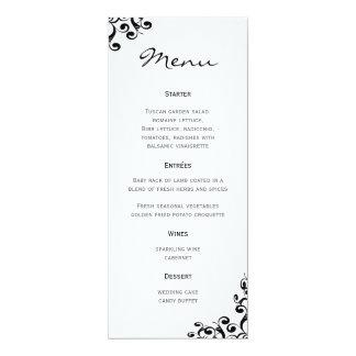 Menú del boda blanco y negro invitación 10,1 x 23,5 cm