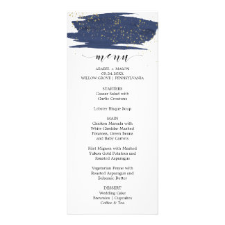 Menú del boda de la chispa de la marina de guerra diseño de tarjeta publicitaria