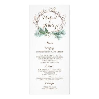 Menú del boda de la guirnalda del invierno
