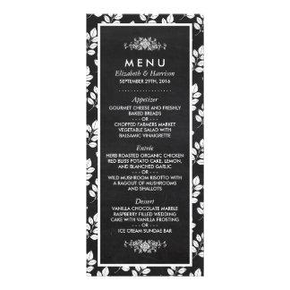 Menú del boda de la hoja floral de la pizarra tarjetas publicitarias a todo color