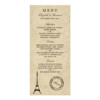 Menú del boda de los matasellos de París de la Lonas Personalizadas
