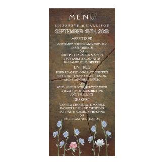 Menú del boda de madera de roble del Wildflower Lona Personalizada