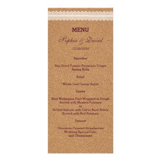 Menú del boda del corcho del vino del cordón del