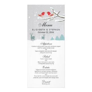 Menú del boda del invierno del reno de los pájaros