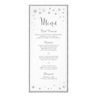 Menú del boda del invierno/menú del boda del copo tarjeta publicitaria personalizada