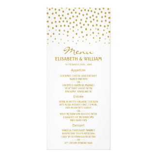 Menú del boda del lunar del oro tarjetas publicitarias