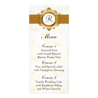 menú del boda del oro del monograma
