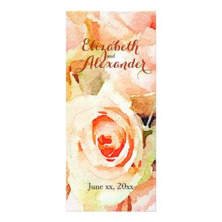 Menú delicado de la acuarela de los rosas del tarjetas publicitarias