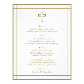 Menú determinado del boda de la cruz del esquema d folleto 21,6 x 28 cm