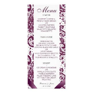 Menú elegante del boda del cordón - púrpura lona publicitaria
