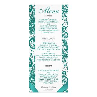 Menú elegante del boda del cordón - trullo tarjeta publicitaria personalizada