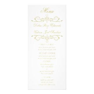 Menú elegante del boda del monograma del blanco y