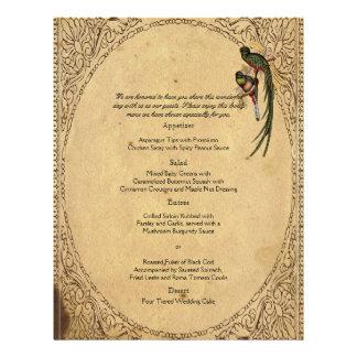 Menú elegante del boda del pájaro de quetzal del folleto 21,6 x 28 cm