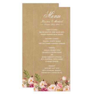 Menú elegante elegante floral rústico del boda de invitación 10,1 x 23,5 cm