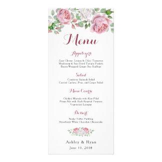 Menú floral color de rosa elegante rosado del boda