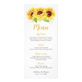 Menú floral del boda de la acuarela del girasol
