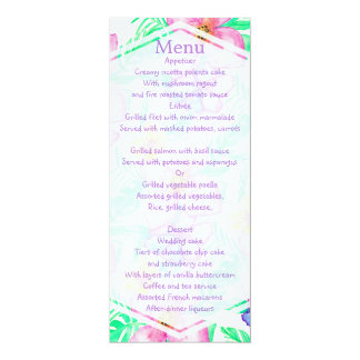Menú floral del boda de la acuarela hawaiana invitación 10,1 x 23,5 cm