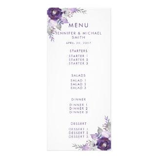 Menú floral del boda de la acuarela púrpura y de