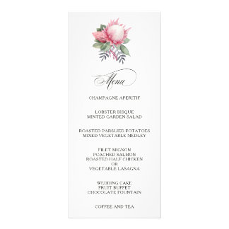 Menú floral del boda de la fantasía del Protea