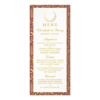 Menú floral del boda de la guirnalda del oro lona personalizada