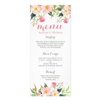 Menú floral del boda del rosa moderno de la