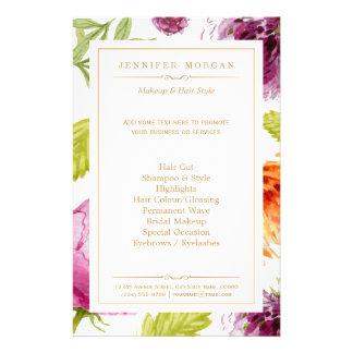 Menú floral del servicio del boutique del vintage folleto 14 x 21,6 cm