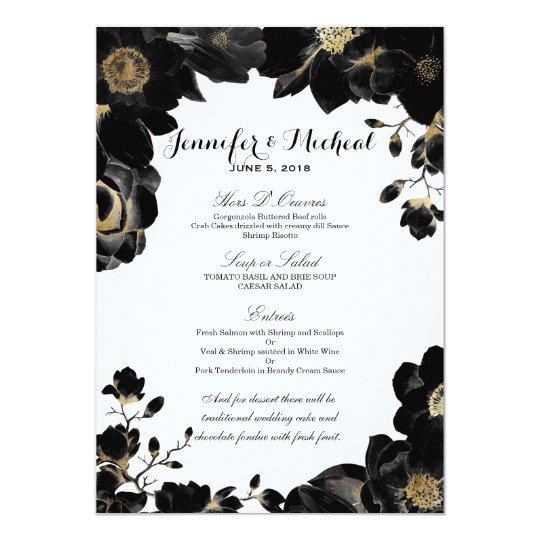 Menú floral negro acentuado de oro del boda invitación 12,7 x 17,8 cm