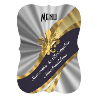 Menú formal elegante del boda de la plata y del or comunicados personales