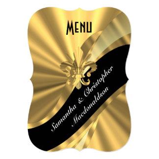 Menú formal elegante del boda del oro elegante invitación 12,7 x 17,8 cm