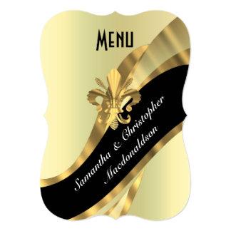 Menú formal elegante del boda del oro elegante anuncio personalizado