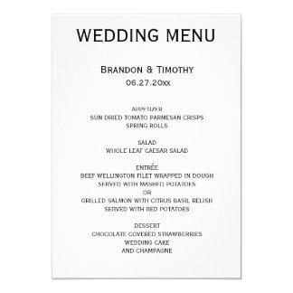 Menú gay blanco y negro de encargo del boda invitación 12,7 x 17,8 cm
