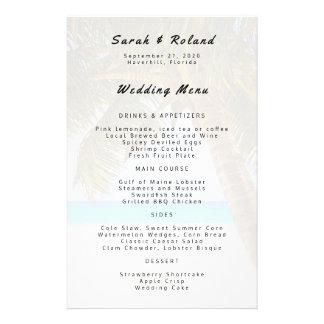 Menú grande del personalizado del boda de playa de