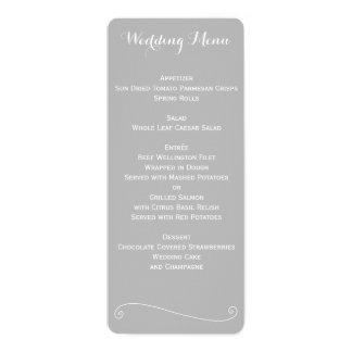 Menú gris y blanco elegante de encargo del boda invitación 10,1 x 23,5 cm