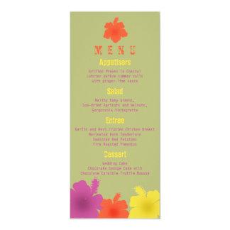 Menú hawaiano colorido del boda del hibisco invitación 10,1 x 23,5 cm