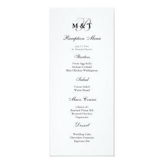Menú mate negro y blanco del boda del monograma invitación 10,1 x 23,5 cm