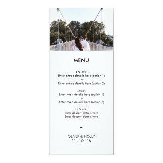 Menú moderno del boda de la plantilla de la foto invitación 10,1 x 23,5 cm