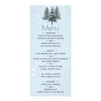 Menú moderno del boda del árbol de pino del