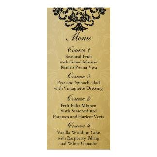 menú negro del boda del oro tarjeta publicitaria