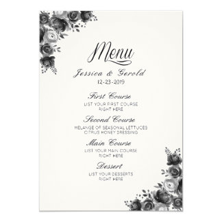 Menú negro y blanco rústico del boda del granero invitación 12,7 x 17,8 cm