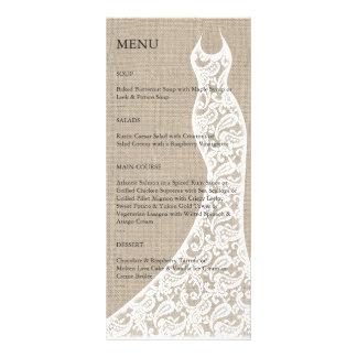 Menú nupcial de la ducha de la arpillera hermosa tarjeta publicitaria personalizada
